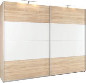 SKJUTDÖRRSGARDEROB - vit/Sonoma ek, Klassisk, metall/glas (226/229/62cm) - Xora