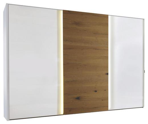 SCHWEBETÜRENSCHRANK 3-türig Wildeiche Eichefarben, Weiß - Chromfarben/Eichefarben, Design, Glas/Holzwerkstoff (298/222/68cm) - Moderano