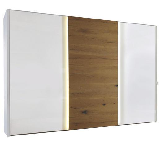 SCHWEBETÜRENSCHRANK 3-türig Weiß, Eichefarben  - Chromfarben/Eichefarben, Design, Glas/Holzwerkstoff (280/222/68cm) - Moderano