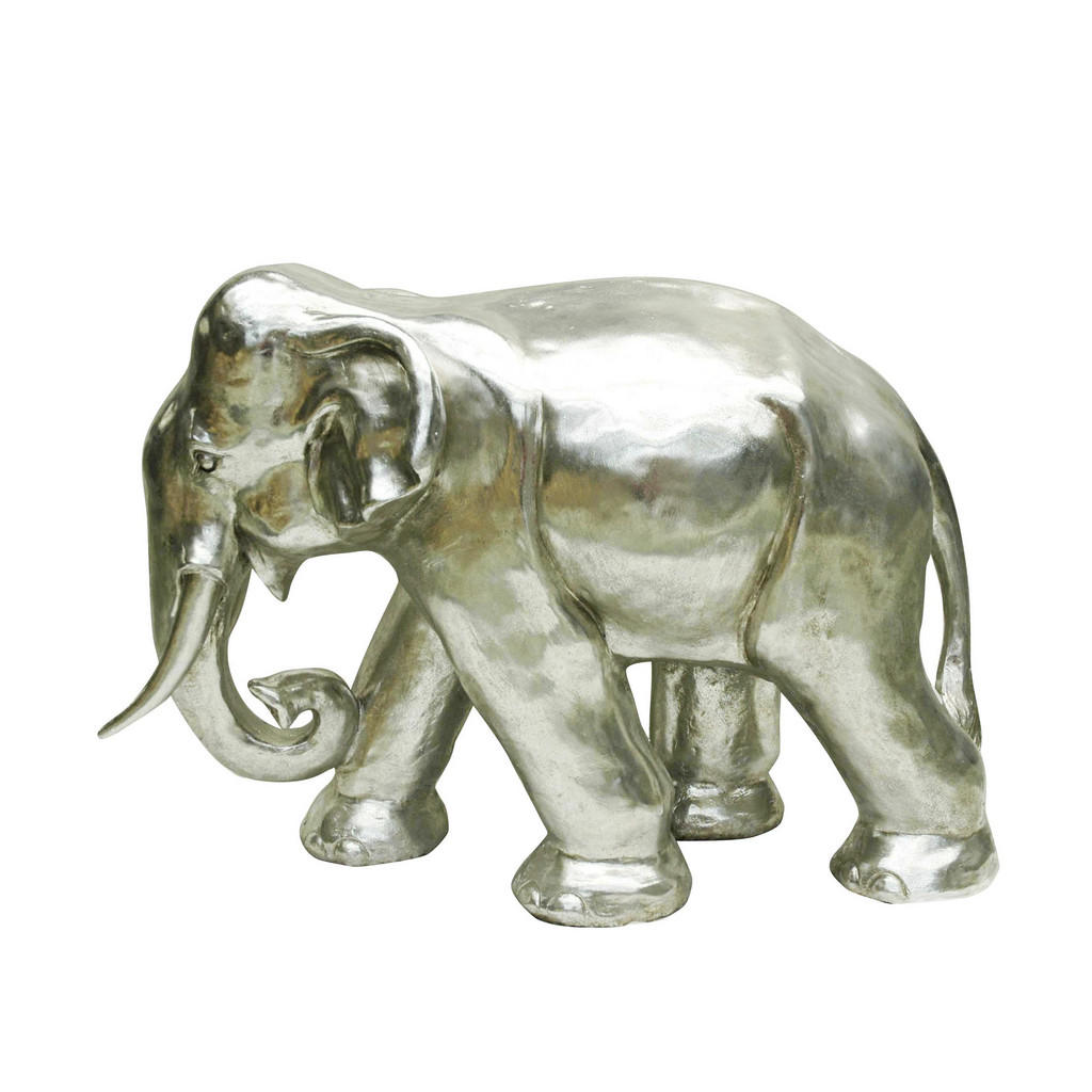 Image of Ambia Home Dekoelefant , Ny9246603a , Silberfarben , Kunststoff , Uni , 38x57x83 cm , glänzend , Kunsthandwerk, zum Stellen, handgemacht , 0083060020