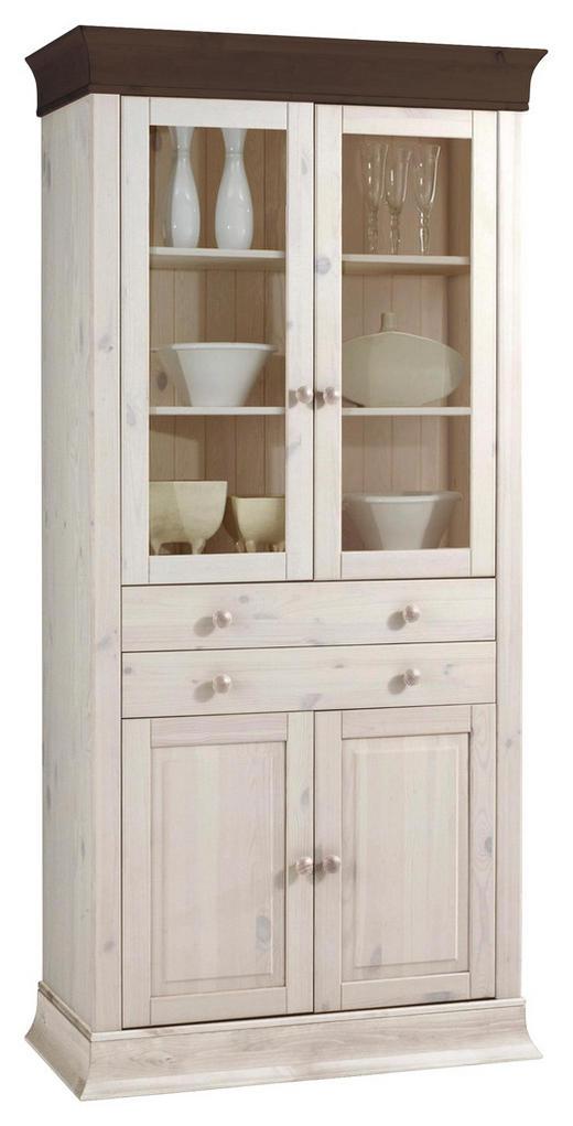 VITRINE Kiefer massiv Weiß, Dunkelbraun - Dunkelbraun/Weiß, Design, Holz (94/195/45cm) - Carryhome