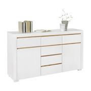KOMMODE - Eichefarben/Weiß, Design, Holzwerkstoff (155/88/38cm) - Xora