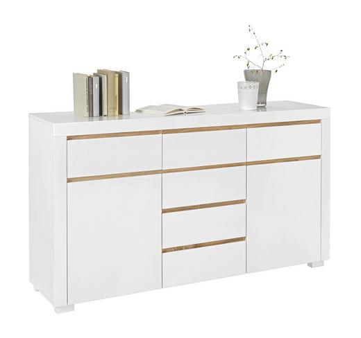 KOMMODE Eichefarben, Weiß - Eichefarben/Weiß, Design, Holzwerkstoff (155/88/38cm) - Xora