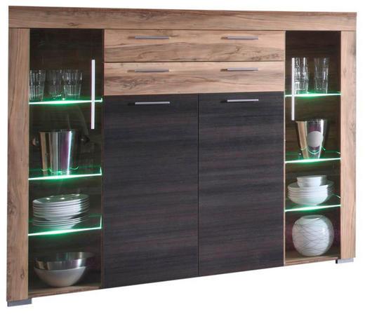 HIGHBOARD Dunkelbraun, Nussbaumfarben - Dunkelbraun/Nussbaumfarben, Design, Glas/Holzwerkstoff (160/137/40cm) - Carryhome