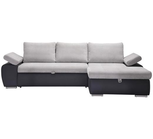 WOHNLANDSCHAFT in Textil Hellgrau, Dunkelgrau - Dunkelgrau/Hellgrau, Design, Kunststoff/Textil (271/175cm) - Xora