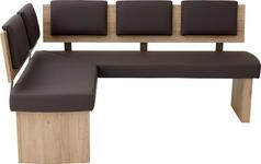 ECKBANK Lederlook Braun, Eichefarben, Sandfarben - Sandfarben/Eichefarben, Natur, Holzwerkstoff/Textil (140/180cm) - Cantus
