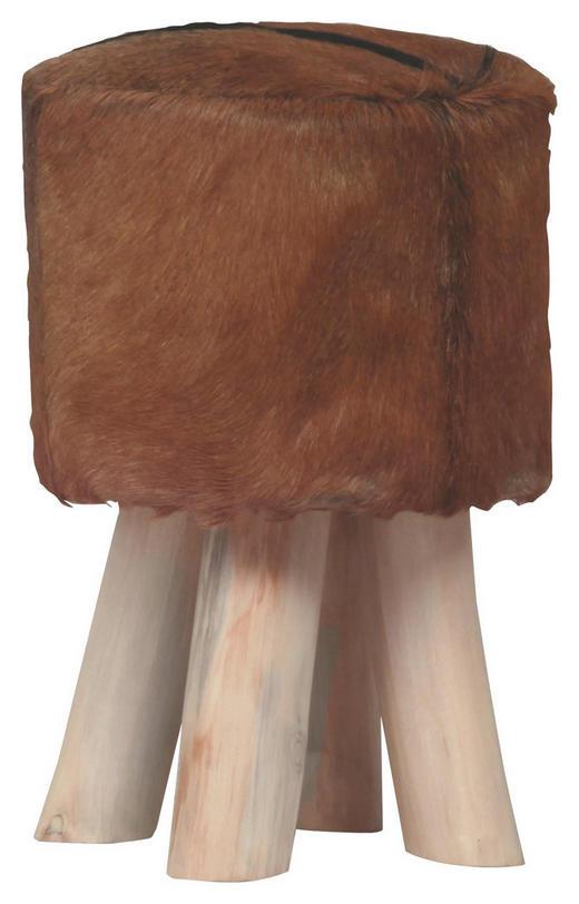 HOCKER massiv Braun, Weiß - Braun/Weiß, Design, Holz/Weitere Naturmaterialien (30/45/30cm) - CARRYHOME