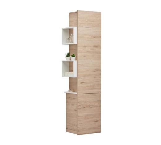 HOCHSCHRANK 43/163,1/33 cm  - Eichefarben/Weiß, Design, Glas/Holzwerkstoff (43/163,1/33cm) - Celina
