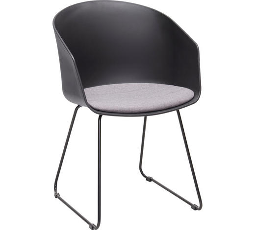 ARMLEHNSTUHL Grau, Schwarz  - Schwarz/Grau, Design, Kunststoff/Textil (51/81/51,5cm) - Carryhome