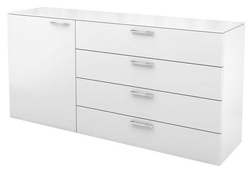 KOMMODE Weiß - Chromfarben/Weiß, Basics (160/77,7/40,1cm) - Hülsta