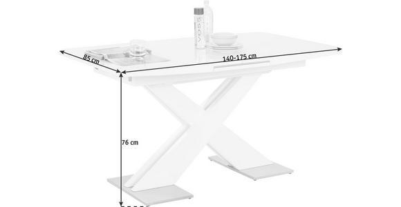 ESSTISCH in Glas, Holzwerkstoff, Metall 140(175)/85/76 cm - Weiß, Design, Glas/Holzwerkstoff (140(175)/85/76cm) - Hom`in