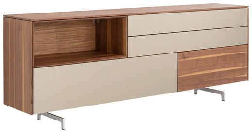 ANRICHTE in Nussbaum Nussbaumfarben - Edelstahlfarben/Nussbaumfarben, Design, Glas/Holz (212,9/79,6/41,8cm) - Team 7
