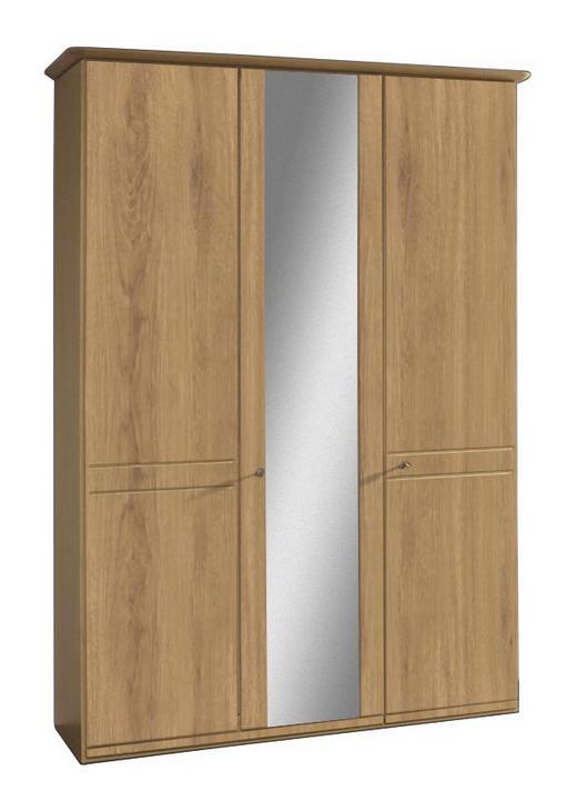 SCHRANK Wildeiche teilmassiv Eichefarben - Eichefarben/Alufarben, KONVENTIONELL, Holz/Holzwerkstoff (150/217/62cm) - Venda
