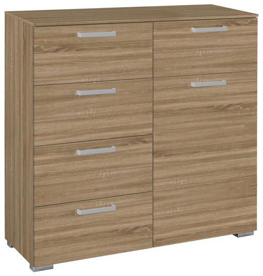 KOMMODE Eichefarben - Eichefarben/Alufarben, Design, Holzwerkstoff/Kunststoff (55/105/42cm) - Carryhome