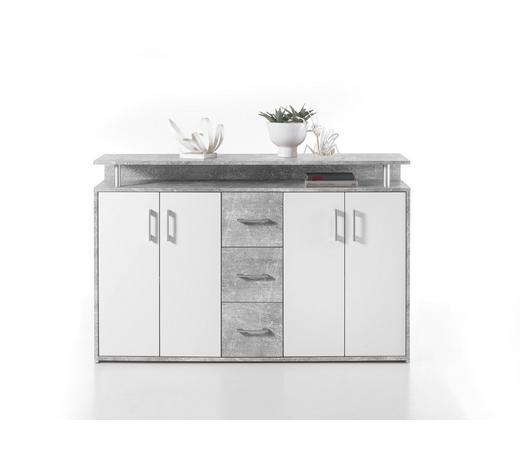 HIGHBOARD Grau, Weiß  - Silberfarben/Weiß, KONVENTIONELL, Holzwerkstoff/Kunststoff (139/90/34cm) - Carryhome