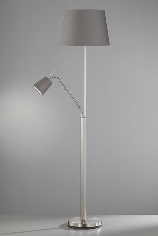 STEHLEUCHTE - Grau/Nickelfarben, Design, Textil/Metall (175cm)
