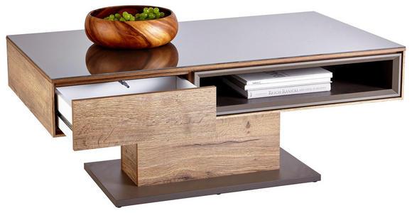 COUCHTISCH in Glas, Holzwerkstoff 115/65/44 cm - Eichefarben/Grau, Design, Glas/Holzwerkstoff (115/65/44cm) - Hom`in