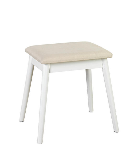 HOCKER in Holz, Holzwerkstoff, Textil Beige, Weiß - Beige/Weiß, Design, Holz/Holzwerkstoff (38/47/28cm) - Carryhome