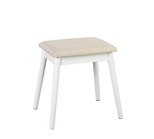HOCKER in Holz, Textil, Holzwerkstoff Weiß, Beige  - Beige/Weiß, Design, Holz/Holzwerkstoff (38/47/28cm) - Carryhome