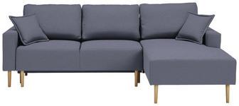 WOHNLANDSCHAFT in Textil Blau  - Blau/Buchefarben, Design, Holz/Textil (223/146cm) - Xora