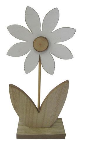 DEKORATIONSBLOMMA - vit/naturfärgad, Lifestyle, träbaserade material (12/26/5cm)