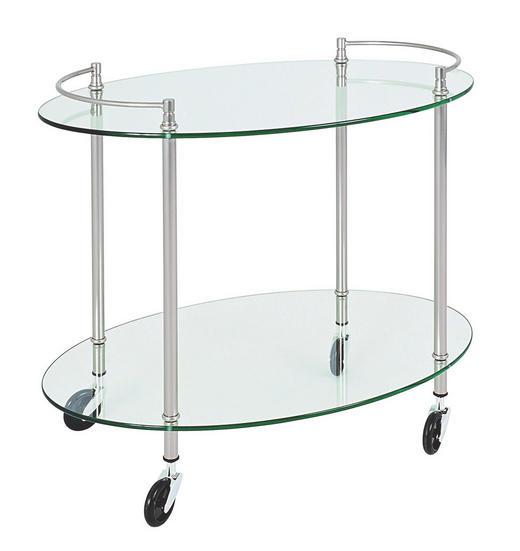 SERVIERWAGEN Glas, Metall Edelstahlfarben - Edelstahlfarben, KONVENTIONELL, Glas/Kunststoff (68/63/46cm)