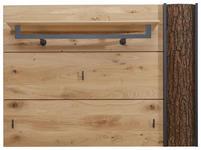 GARDEROBENPANEEL Kerneiche vollmassiv gebürstet, gewachst, lackiert, matt Anthrazit, Eichefarben - Eichefarben/Anthrazit, Design, Holz/Metall (117,5/86,5/35cm) - Valnatura