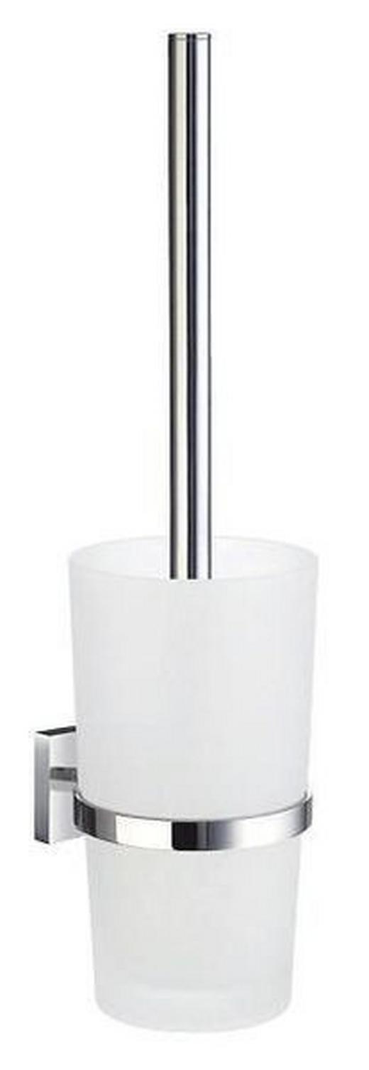 WC-BÜRSTENGARNITUR Glas - Chromfarben/Weiß, Basics, Glas/Kunststoff (11,9/38/11,9cm)