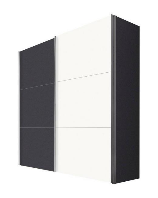 SCHWEBETÜRENSCHRANK 2-türig Graphitfarben, Weiß - Graphitfarben/Alufarben, KONVENTIONELL, Holzwerkstoff/Metall (200/216/68cm) - Hom`in