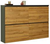 SCHUHSCHRANK Melamin, melaminharzbeschichtet Graphitfarben, Eichefarben  - Eichefarben/Graphitfarben, Design (136/95/30cm) - Voleo