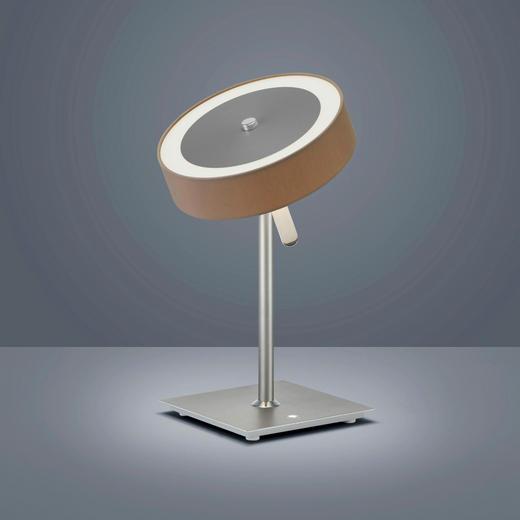 LED-TISCHLEUCHTE - Chromfarben/Braun, Design, Metall (25/38cm) - Helestra