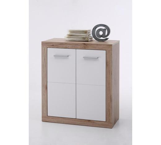 KOMMODE Weiß, Eichefarben  - Eichefarben/Silberfarben, Basics, Holzwerkstoff/Kunststoff (74/84/37cm) - Boxxx