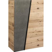 SCHUHSCHRANK Wildeiche furniert, mehrschichtige Massivholzplatte (Tischlerplatte) Eichefarben, Grau - Eichefarben/Grau, Design, Holz/Stein (96,2/138/42,3cm) - VOGLAUER