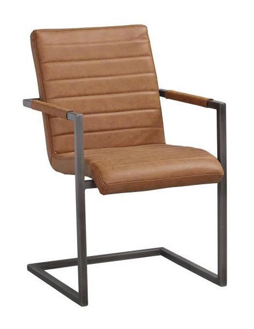 STOL - brun, Design, metall/textil (48/92/42cm) - ROWICO