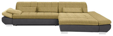 WOHNLANDSCHAFT in Textil Gelb, Taupe  - Taupe/Chromfarben, Design, Kunststoff/Textil (341/204cm) - Xora