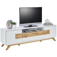 TV DÍL, dub, bílá, barvy dubu - bílá/barvy dubu, Design, dřevo/kompozitní dřevo (178/53,6/40cm) - Xora