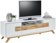 TV-ELEMENT Eiche massiv Weiß, Eichefarben  - Eichefarben/Weiß, Design, Holz (178cm) - Xora
