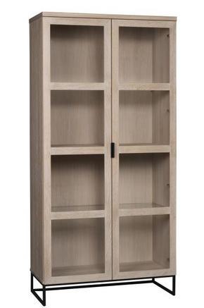 VITRINSKÅP - svart/ekfärgad, Modern, metall/glas (95/195/41cm) - Rowico
