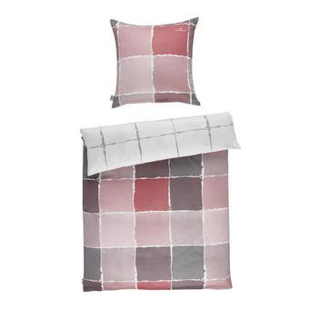 BETTWÄSCHE Satin Grau, Rosa, Weiß 135/200 cm - Rosa/Weiß, Design, Textil (135/200cm) - Tom Tailor