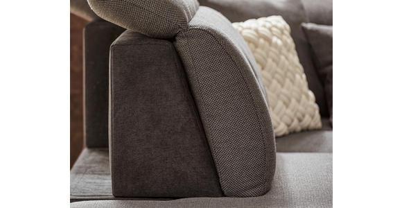 WOHNLANDSCHAFT Grau, Dunkelgrau Webstoff  - Dunkelgrau/Silberfarben, Design, Kunststoff/Textil (263/365/187cm) - Cantus