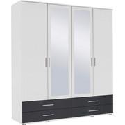KLEIDERSCHRANK in Grau, Weiß - Alufarben/Weiß, KONVENTIONELL, Glas/Holzwerkstoff (168/188/52cm) - Boxxx