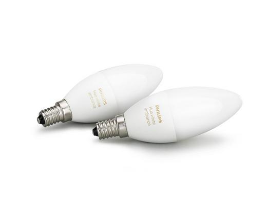 LEUCHTM-SET HUE WHITE AMBIANCE  E14 40 W - Weiß, Design, Kunststoff (3,9/11,7/3,9cm) - Philips