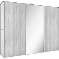 SCHWEBETÜRENSCHRANK in Weiß - Alufarben/Weiß, KONVENTIONELL, Glas/Holzwerkstoff (249/222/68cm) - Moderano