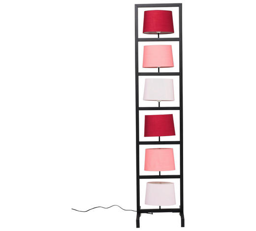 STEHLEUCHTE - Hellrosa/Schwarz, Trend, Kunststoff/Textil (100/30/30cm)
