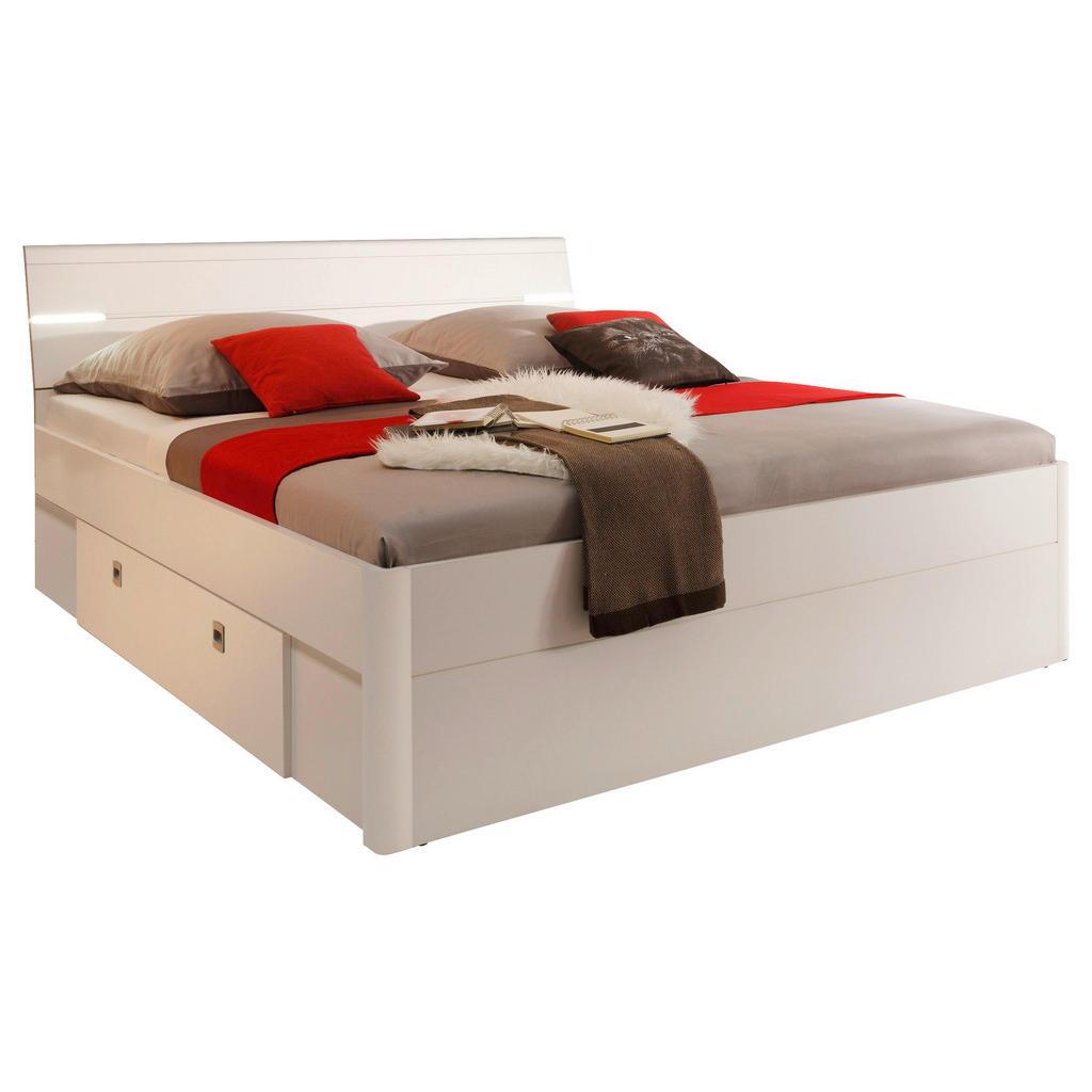 Bett 140/200 cm in weiß , Mars 140X200 , Holzwerkstoff , 140 cm , Dekorfolie,Nachbildung ,