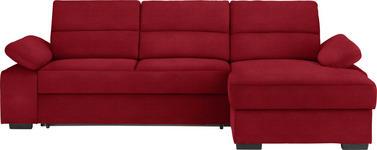 WOHNLANDSCHAFT in Textil Rot - Dunkelbraun/Rot, KONVENTIONELL, Kunststoff/Textil (258/166cm) - Cantus