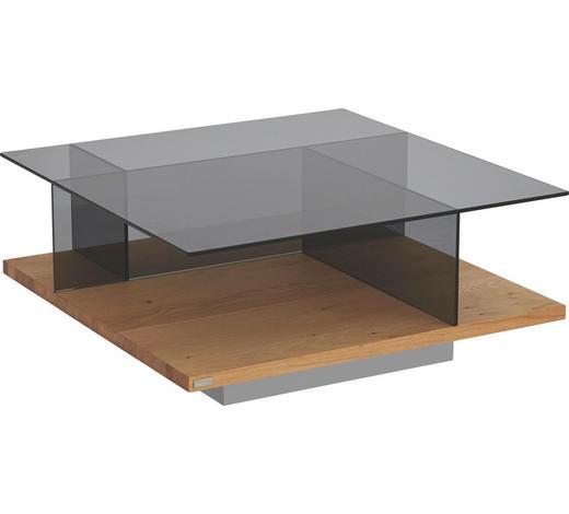 COUCHTISCH in Glas, Holzwerkstoff 80/80/35 cm - Eichefarben, Design, Glas/Holzwerkstoff (80/80/35cm) - Hülsta