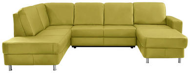 WOHNLANDSCHAFT in Leder Gelb - Chromfarben/Gelb, Design, Leder/Kunststoff (198/301/167cm) - Xora