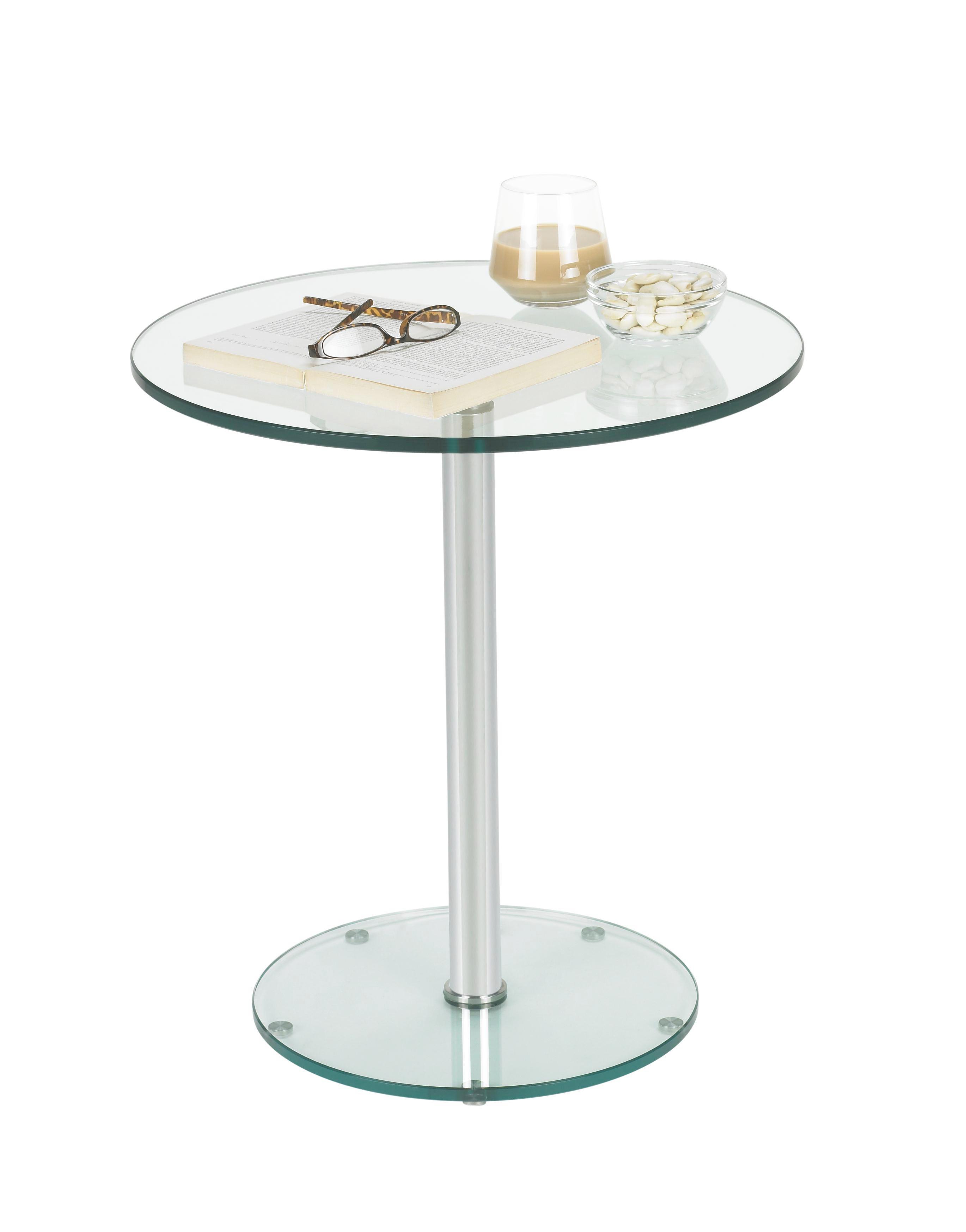 BEISTELLTISCH in Chromfarben, Klar - Chromfarben/Klar, Design, Glas/Metall (50/50-70cm)