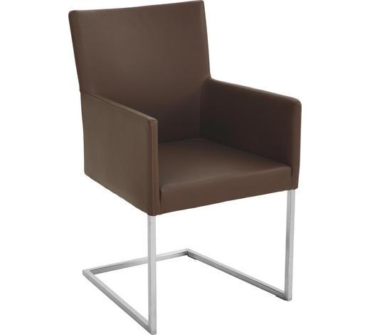 ARMLEHNSTUHL Echtleder Braun, Edelstahlfarben  - Edelstahlfarben/Braun, Design, Leder/Metall (54/90,5/63cm) - Bert Plantagie